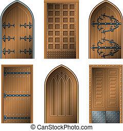 dveře, dělat starým, prostřední