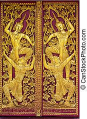dveře, dřevěný, chiangmai, okrasa, thajsko, thai, chrám