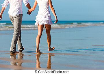 dvojice, chodit, obout si, prázdniny