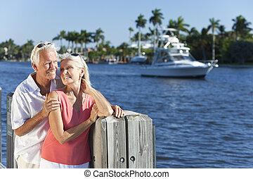 dvojice, moře, starší, řeka, nebo, člun, šťastný