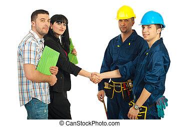 dvojice, mužstvo, dělníci, dohoda