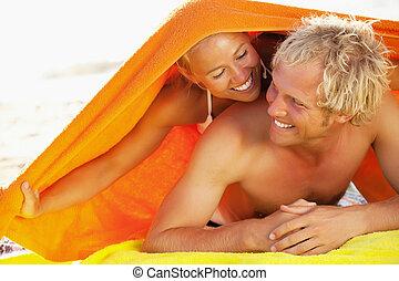 dvojice, pláž, mládě, šťastný