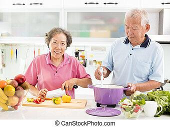 dvojice, vaření, starší, kuchyně, šťastný