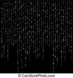 dvojkový kód, potok, vektor, design, grafické pozadí, data