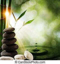 eco, grafické pozadí, namočit, kaluž, orientální, bambus