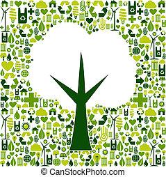 eco, nezkušený, znak, strom, ikona