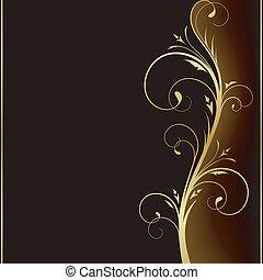 Elegantní temná pozadí se zlatými květinami