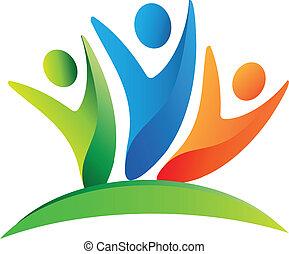 emblém, šťastný, kolektivní práce, národ