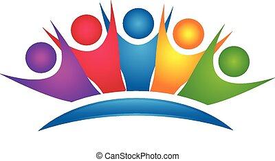 emblém, šťastný, skupina, barvitý, kolektivní práce