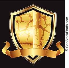 emblém, abstraktní, chránit, zlatý