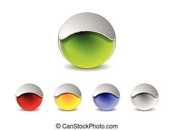 emblém, abstraktní, kule, design, 3