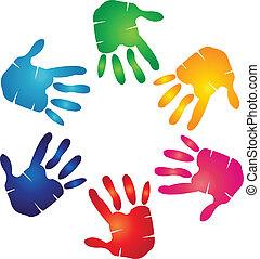 emblém, barvitý, ruce