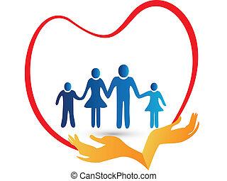 emblém, chráněný, láska, rodina, ruce