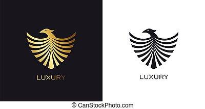 emblém, chránit, fénix, stylizovaný, ptáček, zlatý, zlatý, let
