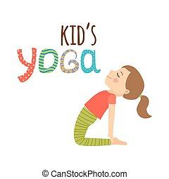 emblém, design, osamocený, děti, jóga