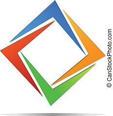 emblém, diamant, vektor, barvitý