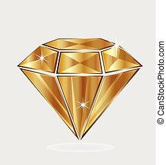 emblém, diamant, zlatý