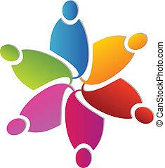emblém, forma, květ, kolektivní práce, barvitý