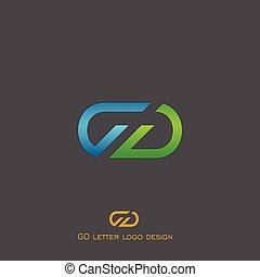 emblém, g, d, litera, design