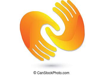 emblém, handshaking, ikona