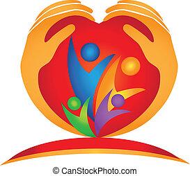 emblém, heart tvořit, rodina, ruce