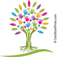 emblém, herce, strom, barvitý, ruce