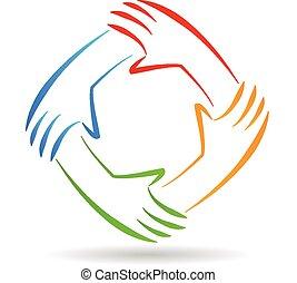 emblém, jednota, kolektivní práce, ruce