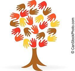 emblém, jednota, ruce, strom, národ