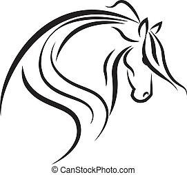 emblém, kůň, vektor, silueta