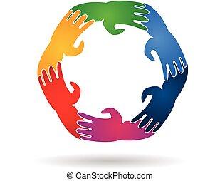 emblém, kolektivní práce, dokola, ruce