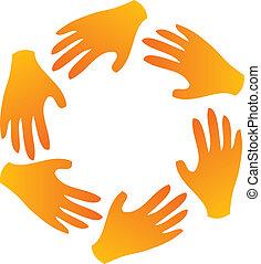 emblém, kolektivní práce, ruce, dokola