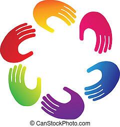 emblém, kolektivní práce, ruce