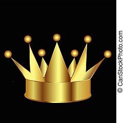 emblém, korunka, zlatý, ikona