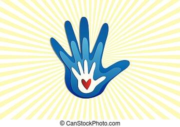 emblém, láska, rodina, ruce