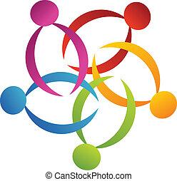 emblém, nést, 2, kolektivní práce, květ