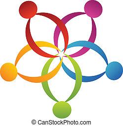 emblém, nést, květ, kolektivní práce