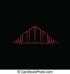 emblém, nad, strůjce, červené šaty krém