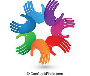 emblém, ruce, barvitý, kolektivní práce