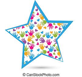 emblém, ruce, hvězda, děti