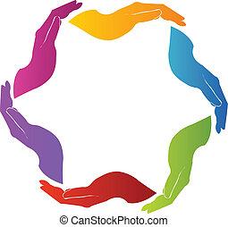emblém, ruce, kolektivní práce, solidarita