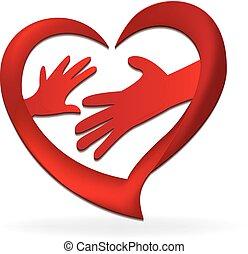 emblém, ruce, láska, rodina, nitro