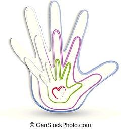 emblém, ruce, rodina, ikona