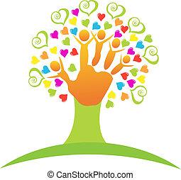 emblém, strom, děti, ruce