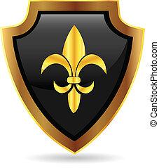 emblém, symbol, chránit, zlatý
