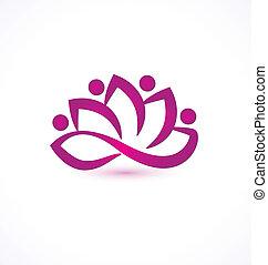 emblém, vektor, květ, nach, lotus