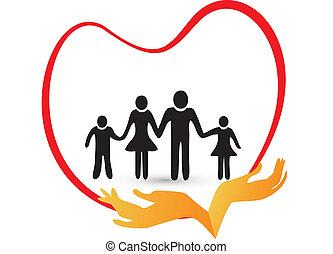 emblém, vektor, láska, rodina