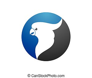 emblém, vektor, papoušek