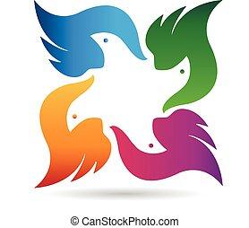 emblém, vektor, ptáci, mužstvo