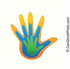 emblém, vektor, rodina, ochrana, ruce