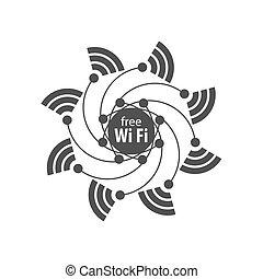 emblém, vektor, síť